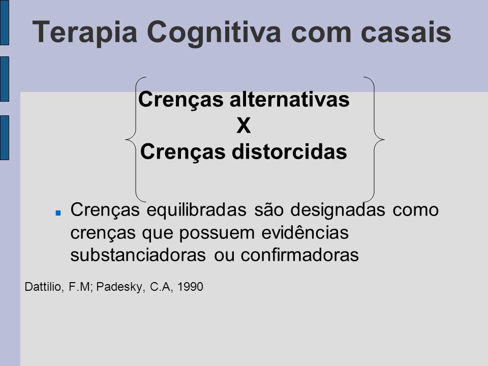 Terapia Cognitiva com casais Crenças distorcidas: Baseadas em informações incorretas ou pensamento falho e, geralmente, estão enraizadas em evidências circunstanciais Dattilio, F.M; Padesky, C.A, 1990 Exemplo: Todos os homens são iguais