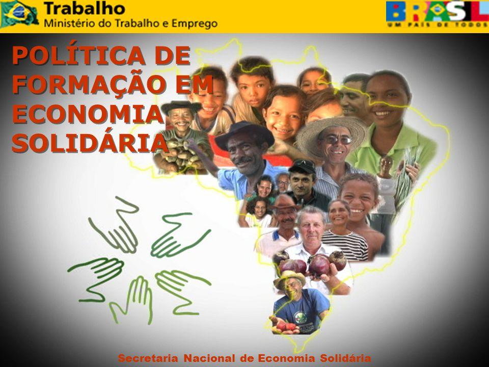 Secretaria Nacional de Economia Solidária POLÍTICA DE FORMAÇÃO EM ECONOMIA SOLIDÁRIA