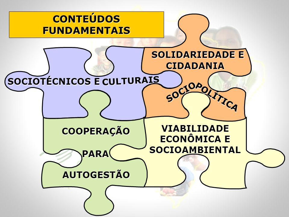 CONTEÚDOS FUNDAMENTAIS SOCIOTÉCNICOS E VIABILIDADE ECONÔMICA E SOCIOAMBIENTAL SOLIDARIEDADE E CIDADANIA SOLIDARIEDADE E CIDADANIA AUTOGESTÃO COOPERAÇÃ