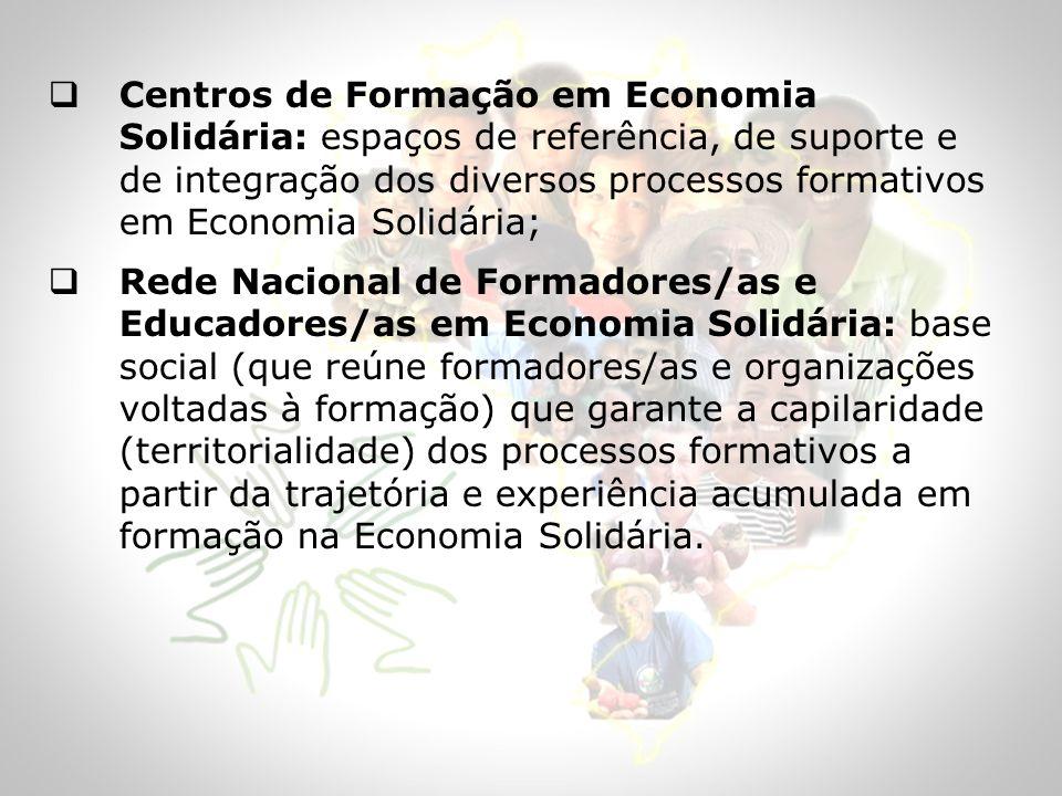 Centros de Formação em Economia Solidária: espaços de referência, de suporte e de integração dos diversos processos formativos em Economia Solidária;