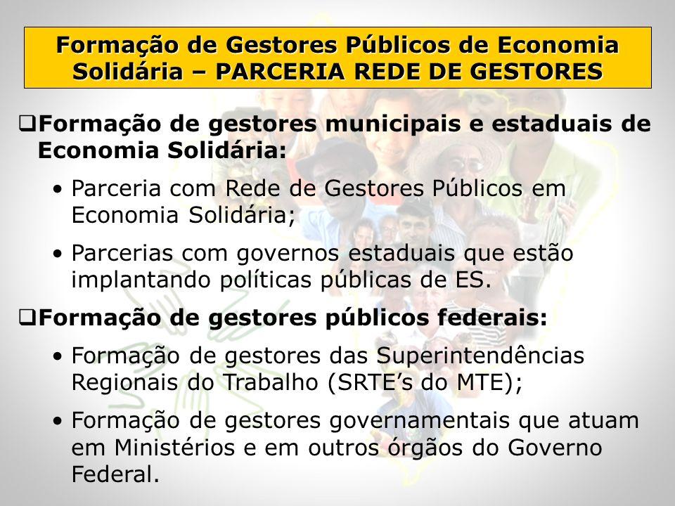 Formação de gestores municipais e estaduais de Economia Solidária: Parceria com Rede de Gestores Públicos em Economia Solidária; Parcerias com governo