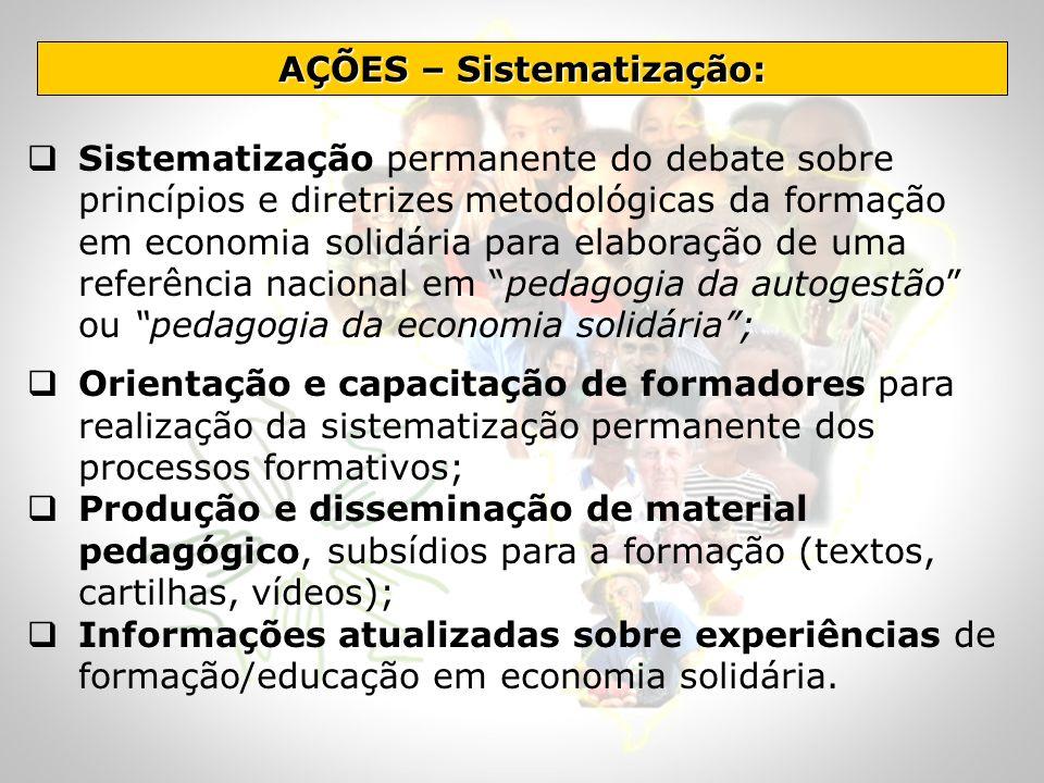 Sistematização permanente do debate sobre princípios e diretrizes metodológicas da formação em economia solidária para elaboração de uma referência na