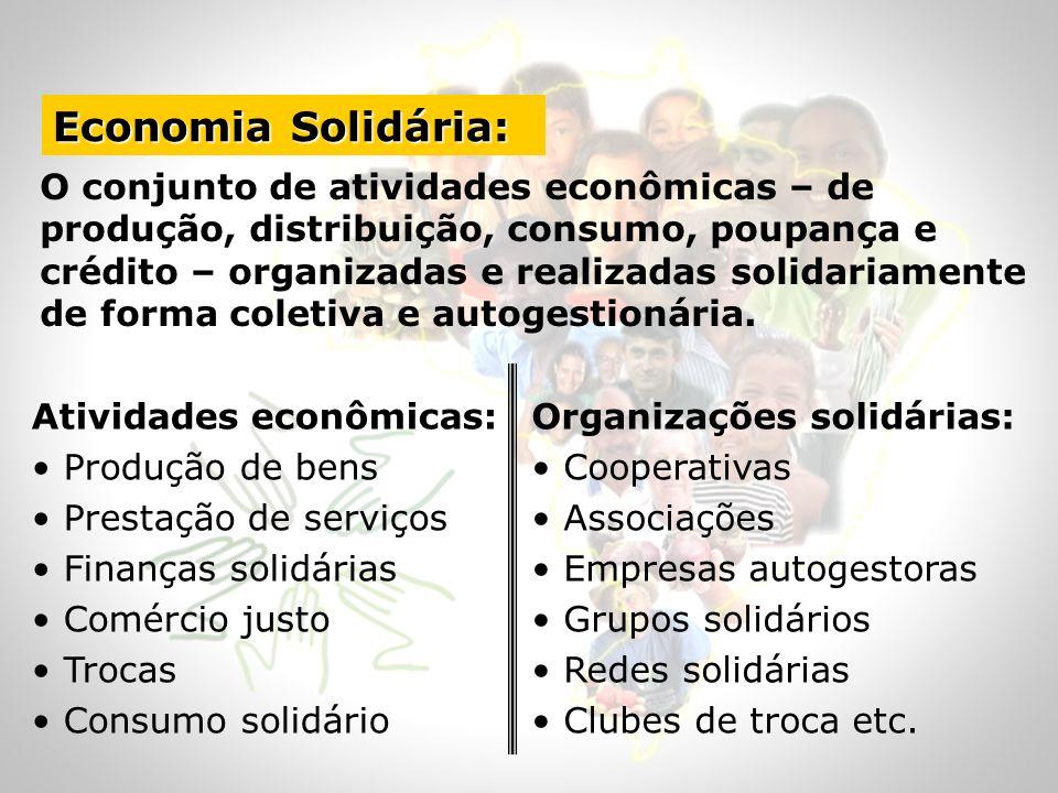 O conjunto de atividades econômicas – de produção, distribuição, consumo, poupança e crédito – organizadas e realizadas solidariamente de forma coleti