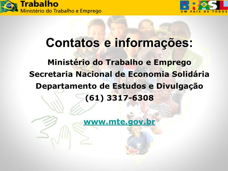 Ministério do Trabalho e Emprego Secretaria Nacional de Economia Solidária Departamento de Estudos e Divulgação (61) 3317-6308 www.mte.gov.br Contatos