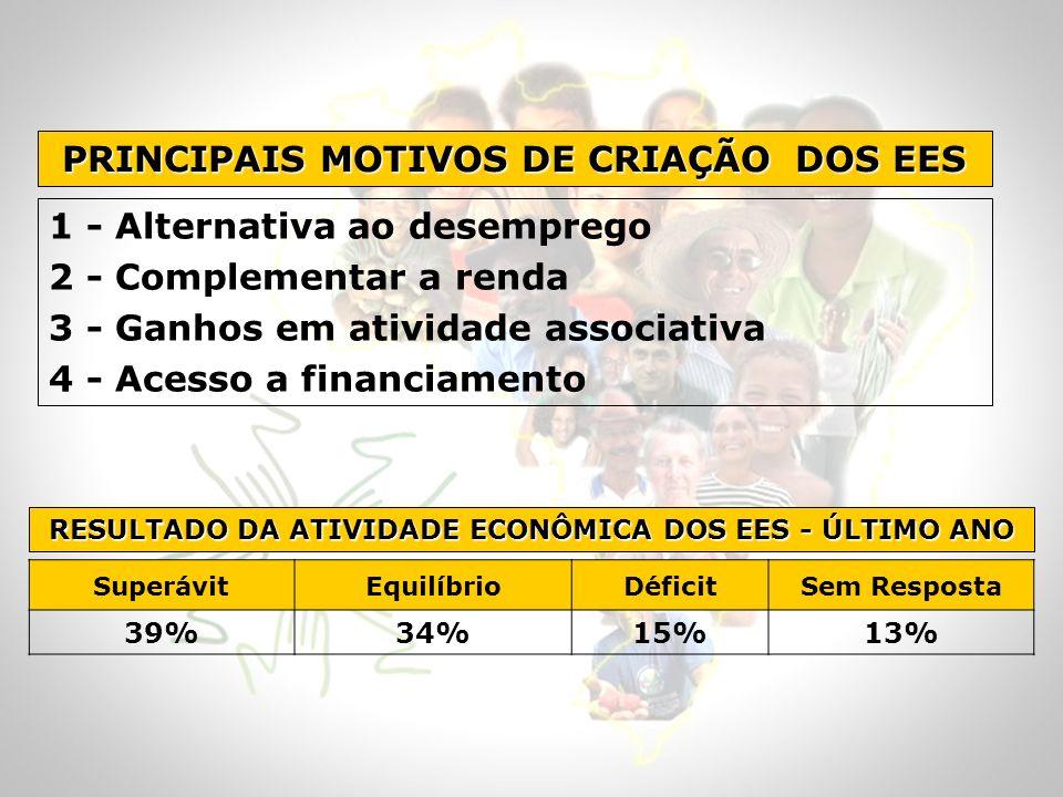 1 - Alternativa ao desemprego 2 - Complementar a renda 3 - Ganhos em atividade associativa 4 - Acesso a financiamento PRINCIPAIS MOTIVOS DE CRIAÇÃO DO