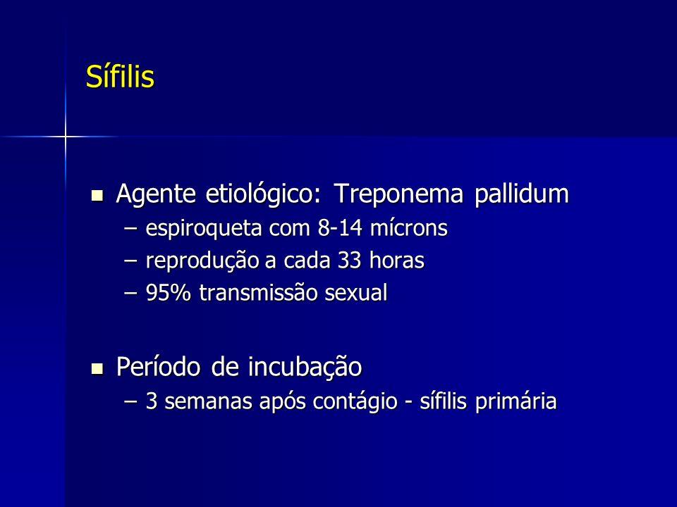 Sífilis Agente etiológico: Treponema pallidum Agente etiológico: Treponema pallidum –espiroqueta com 8-14 mícrons –reprodução a cada 33 horas –95% tra