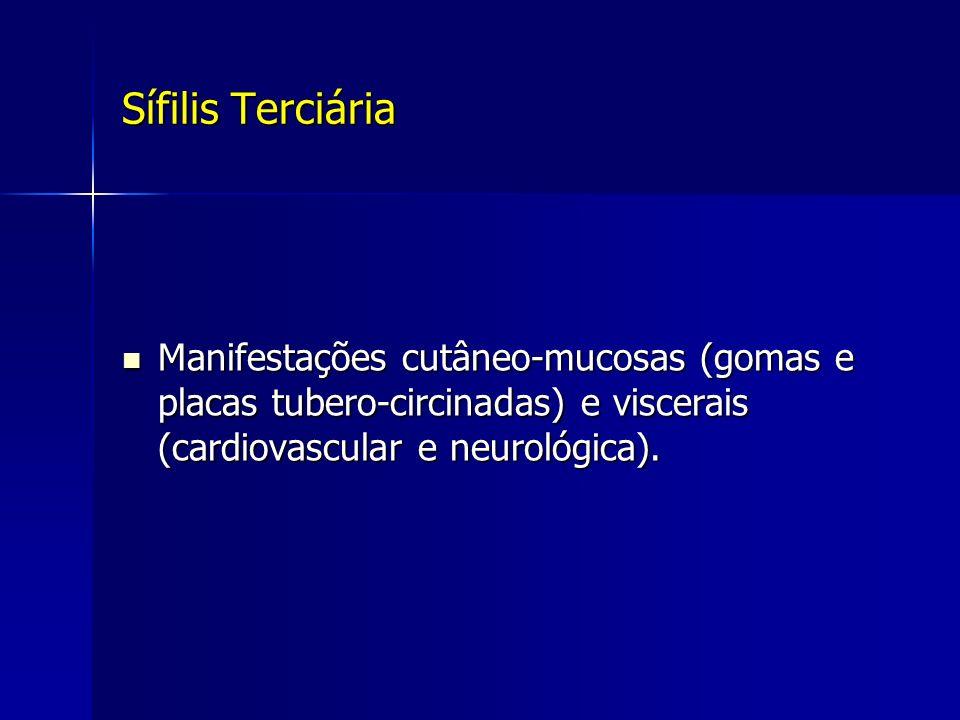 Sífilis Terciária Manifestações cutâneo-mucosas (gomas e placas tubero-circinadas) e viscerais (cardiovascular e neurológica). Manifestações cutâneo-m