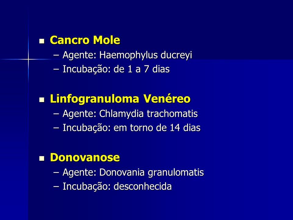 Cancro Mole Cancro Mole –Agente: Haemophylus ducreyi –Incubação: de 1 a 7 dias Linfogranuloma Venéreo Linfogranuloma Venéreo –Agente: Chlamydia tracho