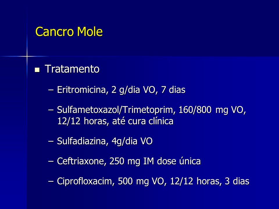 Cancro Mole Tratamento Tratamento –Eritromicina, 2 g/dia VO, 7 dias –Sulfametoxazol/Trimetoprim, 160/800 mg VO, 12/12 horas, até cura clínica –Sulfadi
