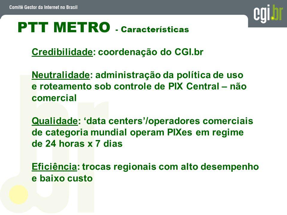PTT METRO - Características Credibilidade: coordenação do CGI.br Neutralidade: administração da política de uso e roteamento sob controle de PIX Centr