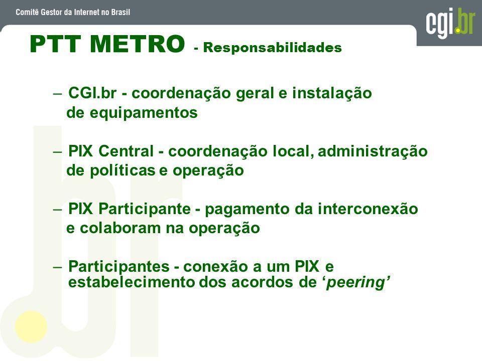 PTT METRO - Responsabilidades –CGI.br - coordenação geral e instalação de equipamentos –PIX Central - coordenação local, administração de políticas e