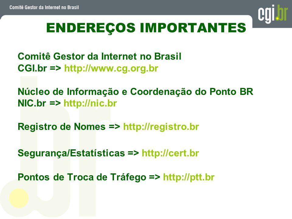 ENDEREÇOS IMPORTANTES Comitê Gestor da Internet no Brasil CGI.br => http://www.cg.org.br Núcleo de Informação e Coordenação do Ponto BR NIC.br => http