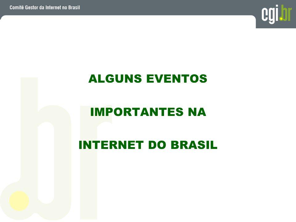 Primeira conexão à redes (Bitnet) => Outubro 88 Domínio.br foi registrado => Abril 89 Primeira conexão Internet (TCP/IP) => Janeiro 91 Pré-definição do DNS brasileiro => Maio 91 Início da operação comercial => Janeiro 95 Criação do Comitê Gestor no Brasil => Maio 95 Automatização do Registro.br => Outubro 97 Inicio do Projeto PTT na FAPESP => Outubro 97 (em 2001 => 40 membros - agregado de 1 Gbit por segundo)