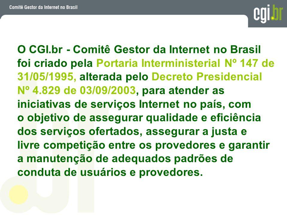 O CGI.br tem como principais atribuições: fomentar o desenvolvimento de serviços Internet no Brasil; recomendar padrões e procedimentos técnicos operacionais (inclusive PTTs) para a Internet no Brasil; coordenar a atribuição de endereços Internet (IPs) e o registro de nomes de domínio usando ccTLD ; coletar, organizar e disseminar informações sobre os serviços Internet - indicadores e estatísticas.