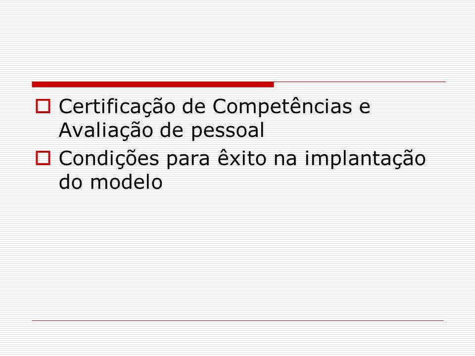 Certificação de Competências e Avaliação de pessoal Condições para êxito na implantação do modelo