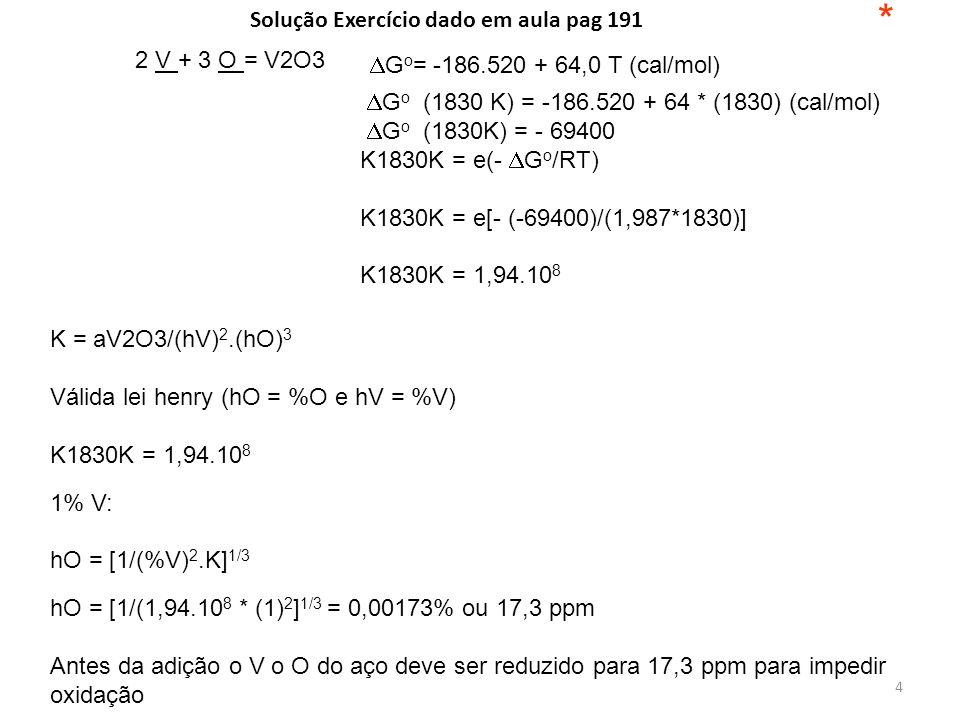 4 K = aV2O3/(hV) 2.(hO) 3 Válida lei henry (hO = %O e hV = %V) K1830K = 1,94.10 8 1% V: hO = [1/(%V) 2.K] 1/3 hO = [1/(1,94.10 8 * (1) 2 ] 1/3 = 0,00173% ou 17,3 ppm Antes da adição o V o O do aço deve ser reduzido para 17,3 ppm para impedir oxidação * Solução Exercício dado em aula pag 191 2 V + 3 O = V2O3 G o = -186.520 + 64,0 T (cal/mol) G o (1830 K) = -186.520 + 64 * (1830) (cal/mol) G o (1830K) = - 69400 K1830K = e(- G o /RT) K1830K = e[- (-69400)/(1,987*1830)] K1830K = 1,94.10 8