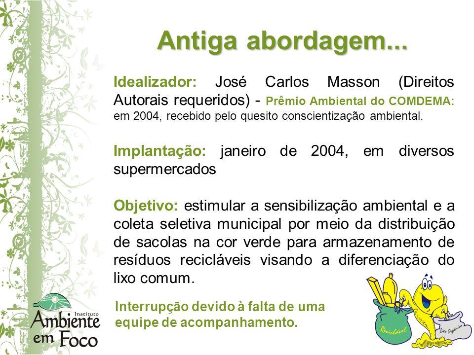 Antiga abordagem... Idealizador: José Carlos Masson (Direitos Autorais requeridos) - Prêmio Ambiental do COMDEMA: em 2004, recebido pelo quesito consc