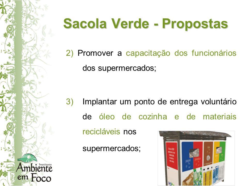 Sacola Verde - Propostas 2) Promover a capacitação dos funcionários dos supermercados; 3)Implantar um ponto de entrega voluntário de óleo de cozinha e