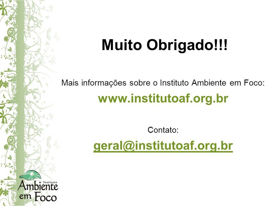 Muito Obrigado!!! Mais informações sobre o Instituto Ambiente em Foco: www.institutoaf.org.br Contato: geral@institutoaf.org.br