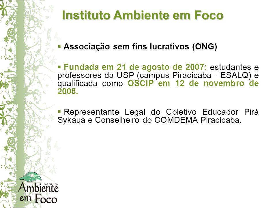 Instituto Ambiente em Foco Associação sem fins lucrativos (ONG) Fundada em 21 de agosto de 2007: estudantes e professores da USP (campus Piracicaba -
