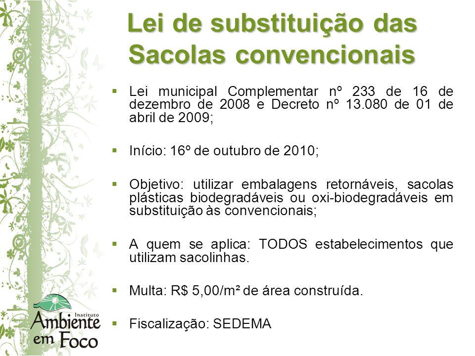 Lei municipal Complementar nº 233 de 16 de dezembro de 2008 e Decreto nº 13.080 de 01 de abril de 2009; Início: 16º de outubro de 2010; Objetivo: util