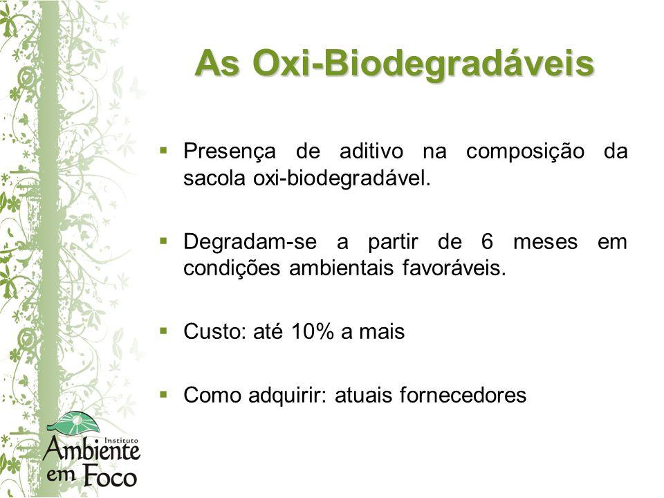 As Oxi-Biodegradáveis Presença de aditivo na composição da sacola oxi-biodegradável. Degradam-se a partir de 6 meses em condições ambientais favorávei