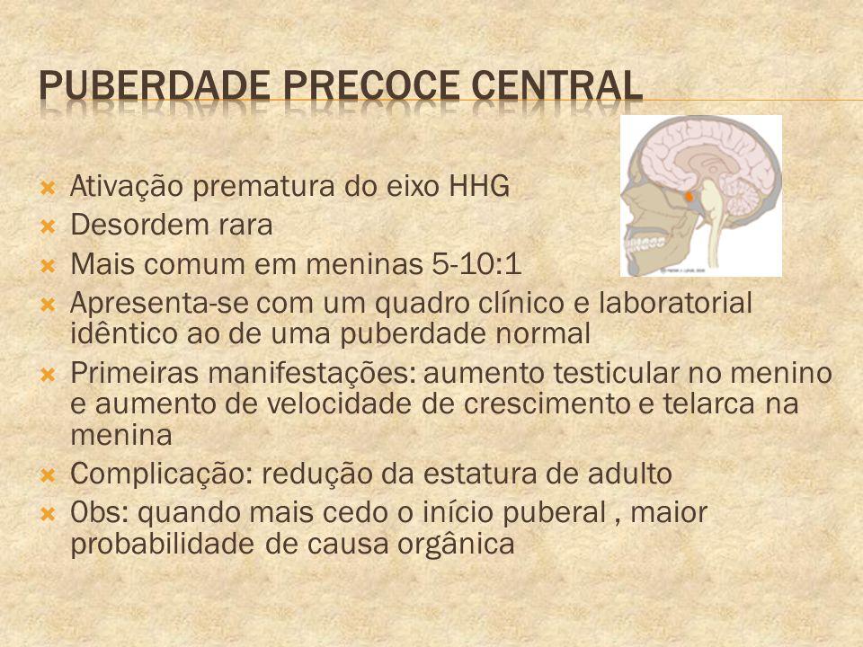 Ativação prematura do eixo HHG Desordem rara Mais comum em meninas 5-10:1 Apresenta-se com um quadro clínico e laboratorial idêntico ao de uma puberda