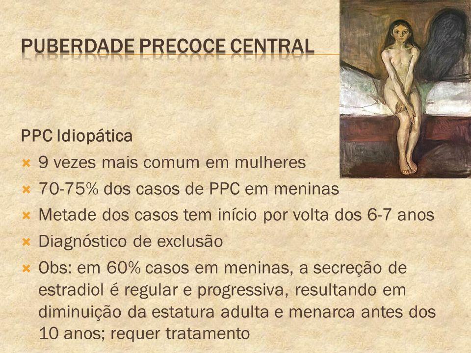 PPC Idiopática 9 vezes mais comum em mulheres 70-75% dos casos de PPC em meninas Metade dos casos tem início por volta dos 6-7 anos Diagnóstico de exc