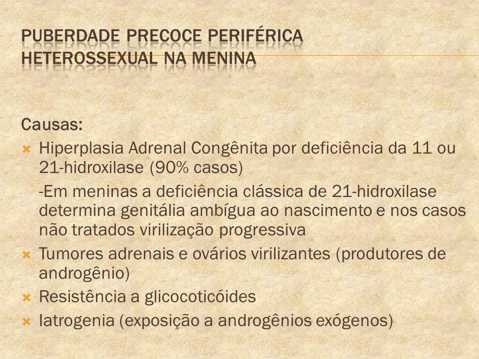 Causas: Hiperplasia Adrenal Congênita por deficiência da 11 ou 21-hidroxilase (90% casos) -Em meninas a deficiência clássica de 21-hidroxilase determi