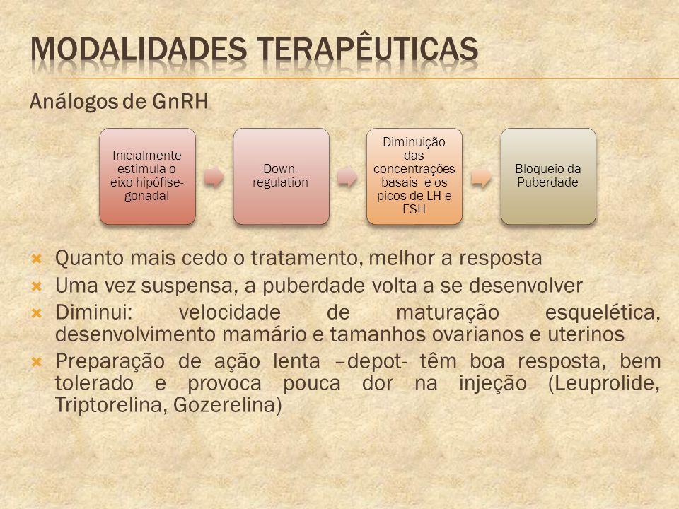 Análogos de GnRH Quanto mais cedo o tratamento, melhor a resposta Uma vez suspensa, a puberdade volta a se desenvolver Diminui: velocidade de maturaçã
