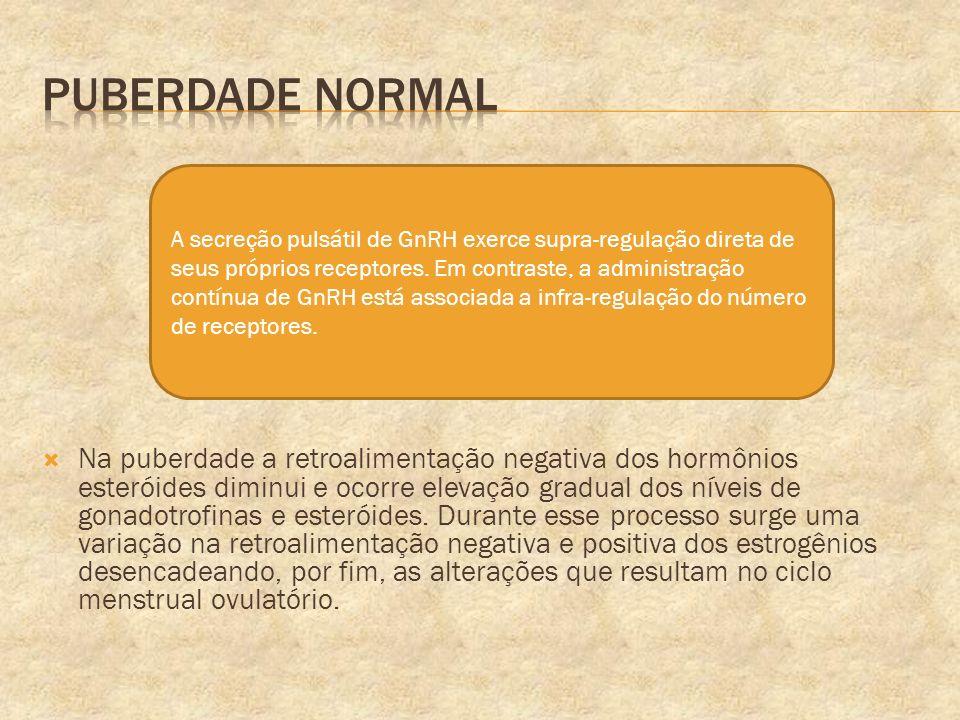 Na puberdade a retroalimentação negativa dos hormônios esteróides diminui e ocorre elevação gradual dos níveis de gonadotrofinas e esteróides. Durante