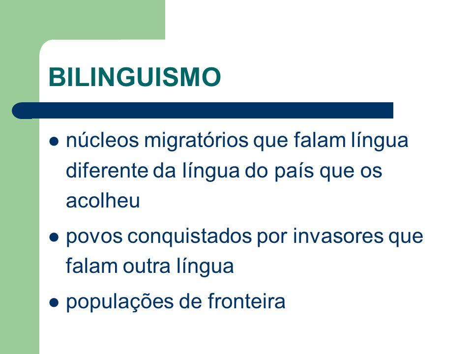 BILINGUISMO núcleos migratórios que falam língua diferente da língua do país que os acolheu povos conquistados por invasores que falam outra língua po