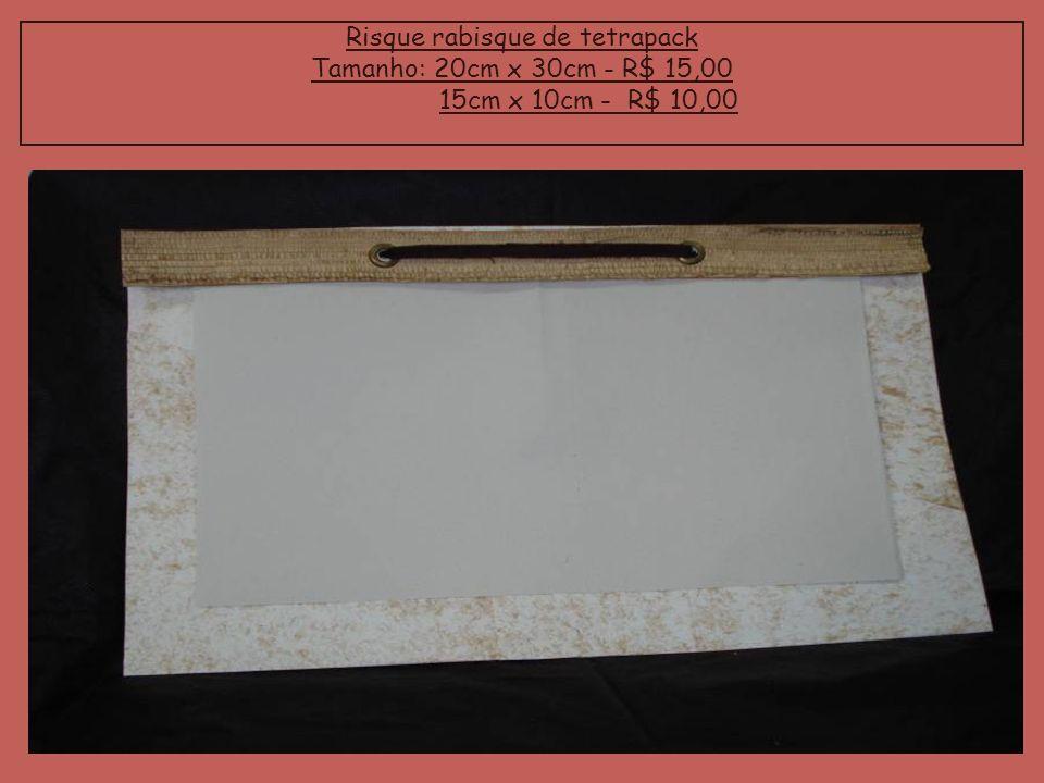 Risque rabisque de tetrapack Tamanho: 20cm x 30cm - R$ 15,00 15cm x 10cm - R$ 10,00