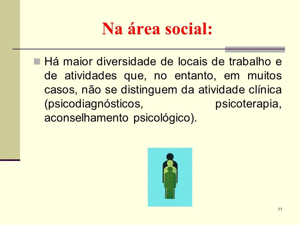 Na área social: Há maior diversidade de locais de trabalho e de atividades que, no entanto, em muitos casos, não se distinguem da atividade clínica (p