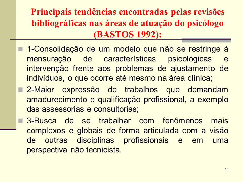 Principais tendências encontradas pelas revisões bibliográficas nas áreas de atuação do psicólogo (BASTOS 1992): 1-Consolidação de um modelo que não s
