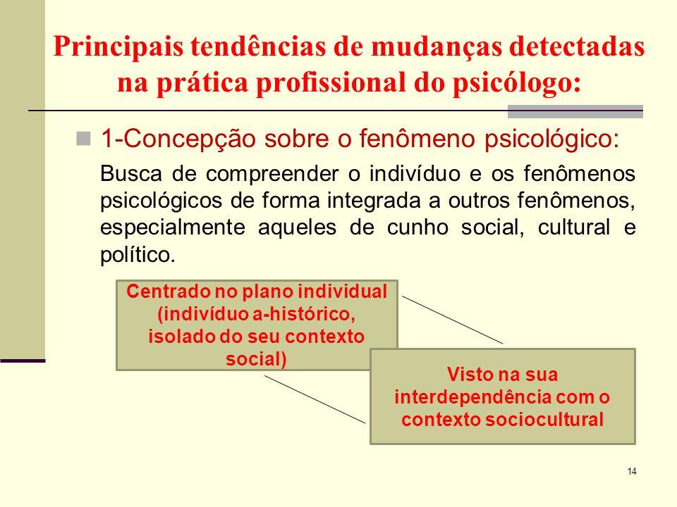 Principais tendências de mudanças detectadas na prática profissional do psicólogo: 1-Concepção sobre o fenômeno psicológico: Busca de compreender o in