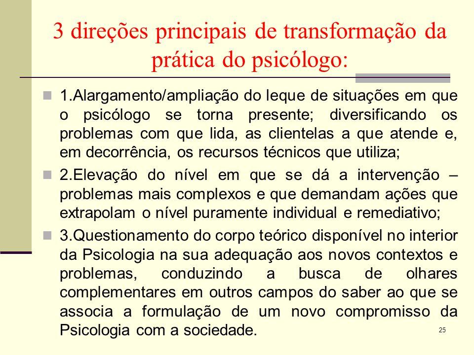3 direções principais de transformação da prática do psicólogo: 1.Alargamento/ampliação do leque de situações em que o psicólogo se torna presente; di