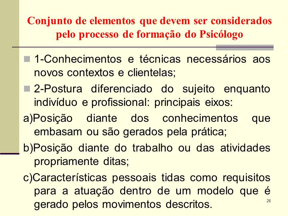 Conjunto de elementos que devem ser considerados pelo processo de formação do Psicólogo 1-Conhecimentos e técnicas necessários aos novos contextos e c