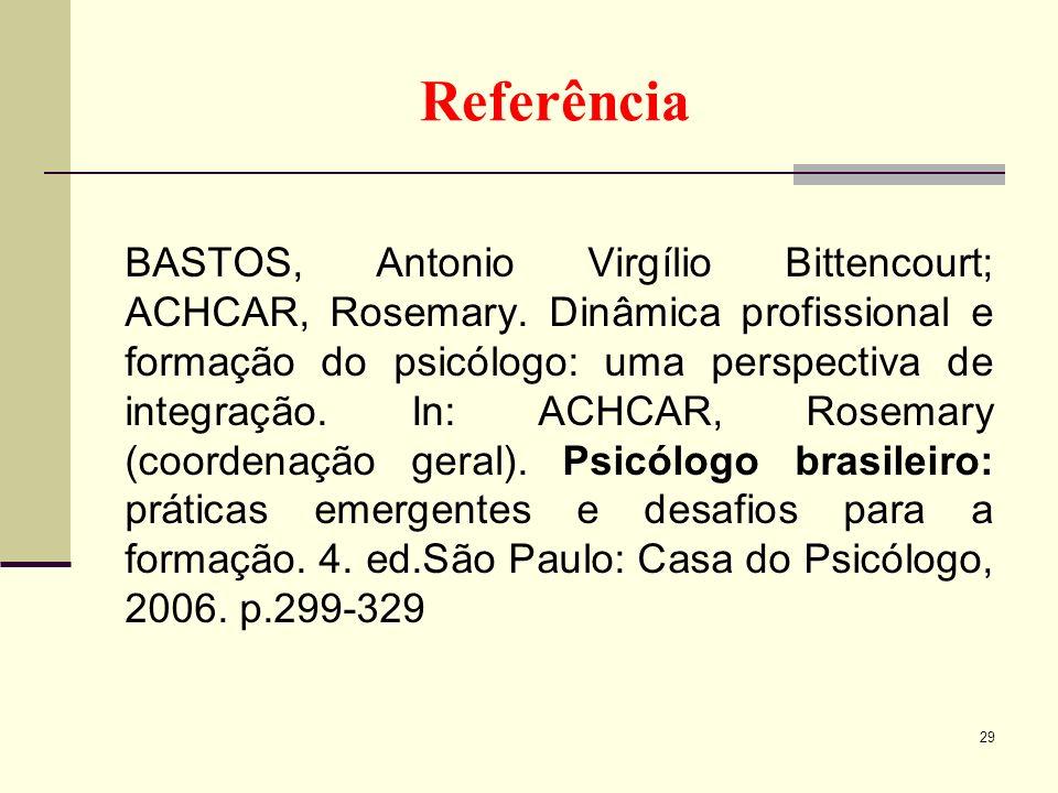 Referência BASTOS, Antonio Virgílio Bittencourt; ACHCAR, Rosemary. Dinâmica profissional e formação do psicólogo: uma perspectiva de integração. In: A