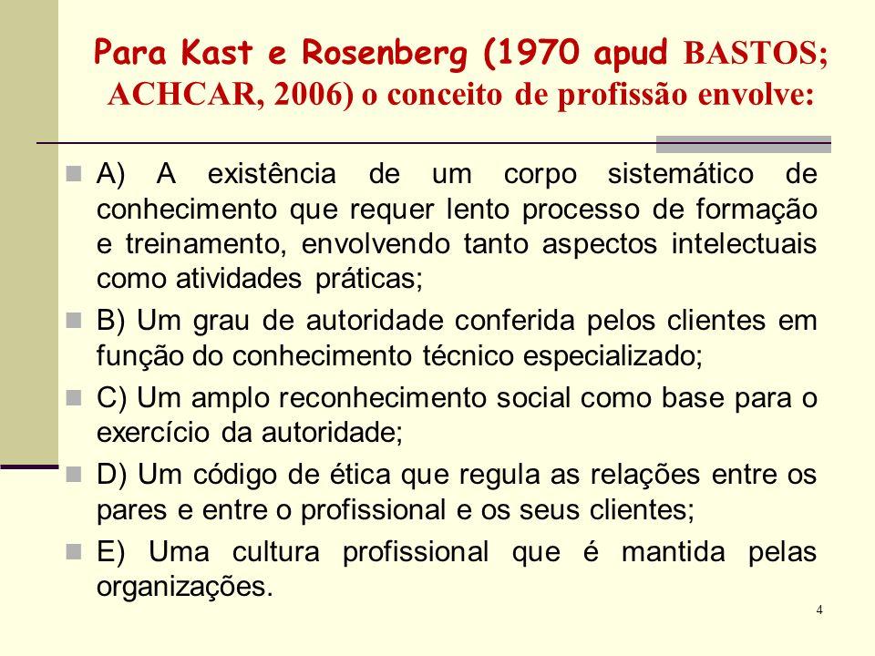 5 Para Wolff (1984 apud B ASTOS; ACHCAR, 2006) O processo de profissionalização das profissões envolve 3 fases: 1-Diferenciação: quando a complexidade de um campo demanda a necessidade de indivíduos capacitados para lidar com determinados problemas; 2-Legitimação: quando surge o sentimento de comunidade e o reconhecimento da sua especificidade pelos clientes, governo e sociedade; 3-Institucionalização: quando os mecanismos de autoregulação e de recrutamento, treinamento e socialização dos novos membros estão consolidados.
