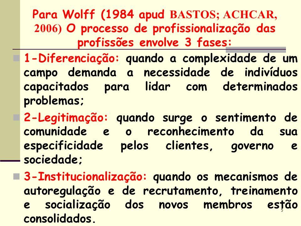 5 Para Wolff (1984 apud B ASTOS; ACHCAR, 2006) O processo de profissionalização das profissões envolve 3 fases: 1-Diferenciação: quando a complexidade