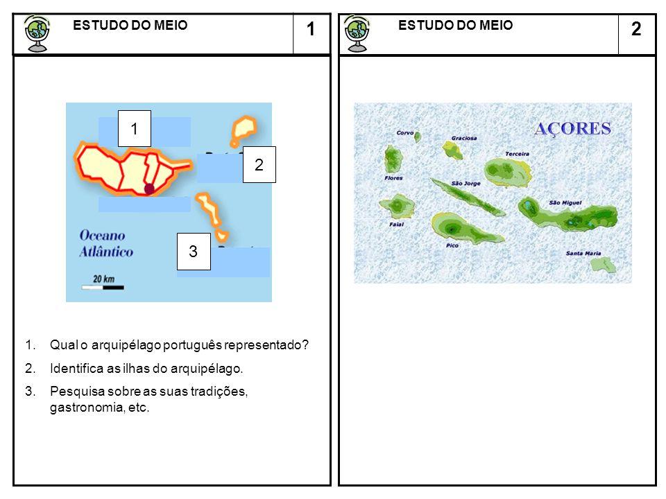 2 ESTUDO DO MEIO ESTUDO DO MEIO 1 2 3 1 1.Qual o arquipélago português representado? 2.Identifica as ilhas do arquipélago. 3.Pesquisa sobre as suas tr