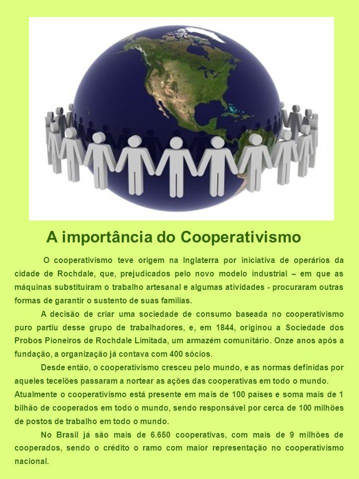 O cooperativismo teve origem na Inglaterra por iniciativa de operários da cidade de Rochdale, que, prejudicados pelo novo modelo industrial – em que a