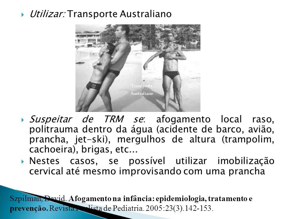 Utilizar: Transporte Australiano Suspeitar de TRM se: afogamento local raso, politrauma dentro da água (acidente de barco, avião, prancha, jet-ski), m