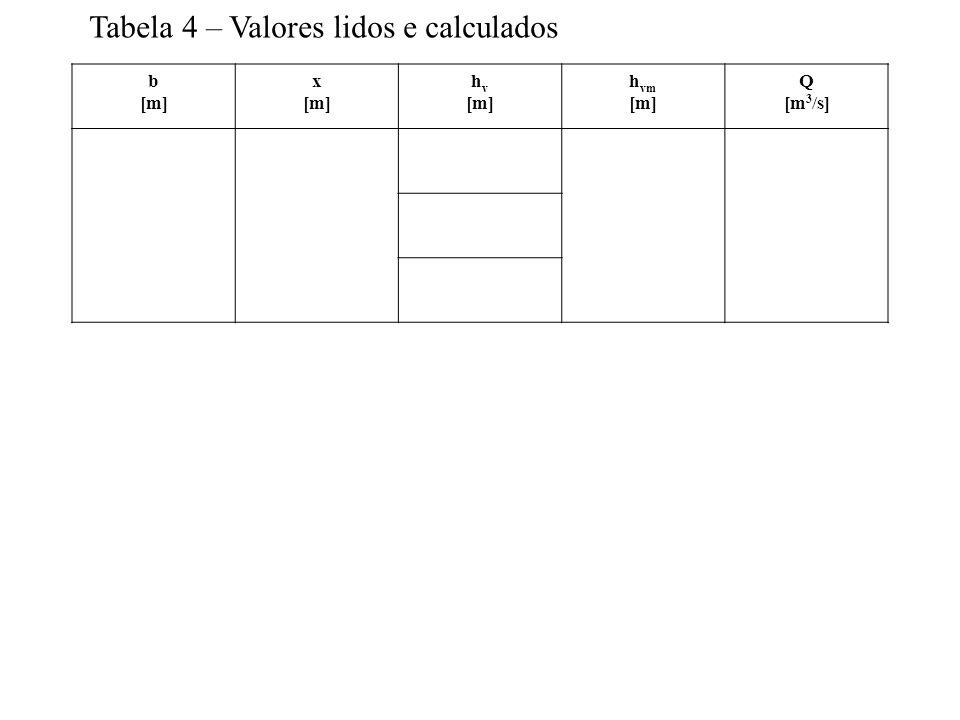 b [m] x [m] h v [m] h vm [m] Q [m 3 /s] Tabela 4 – Valores lidos e calculados