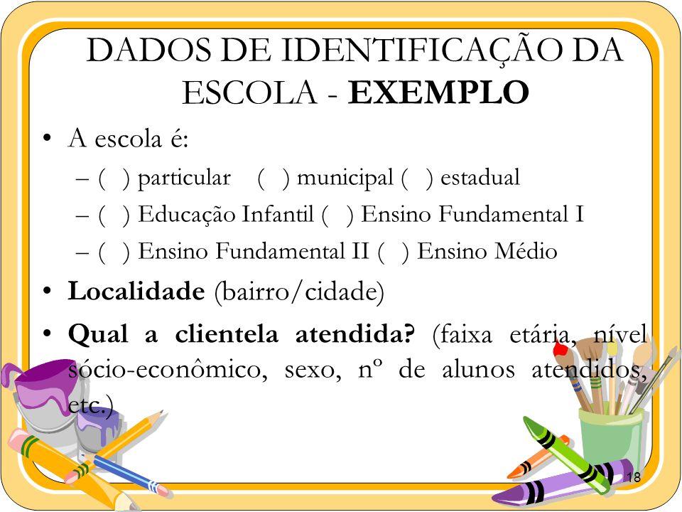 18 DADOS DE IDENTIFICAÇÃO DA ESCOLA - EXEMPLO A escola é: –( ) particular ( ) municipal ( ) estadual –( ) Educação Infantil ( ) Ensino Fundamental I –