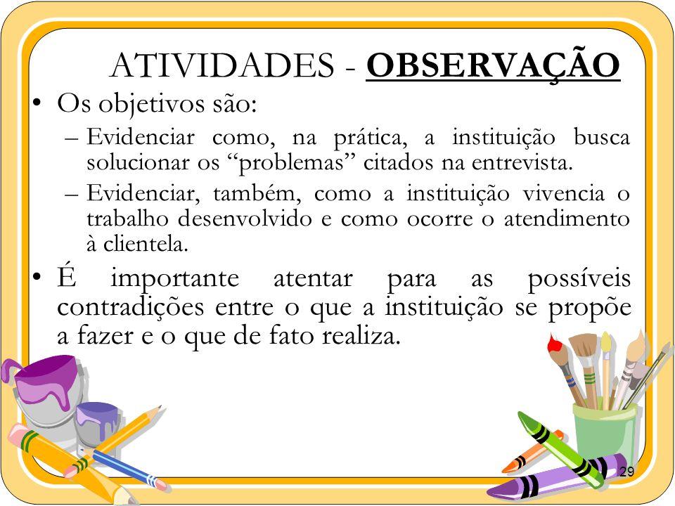 29 ATIVIDADES - OBSERVAÇÃO Os objetivos são: –Evidenciar como, na prática, a instituição busca solucionar os problemas citados na entrevista. –Evidenc