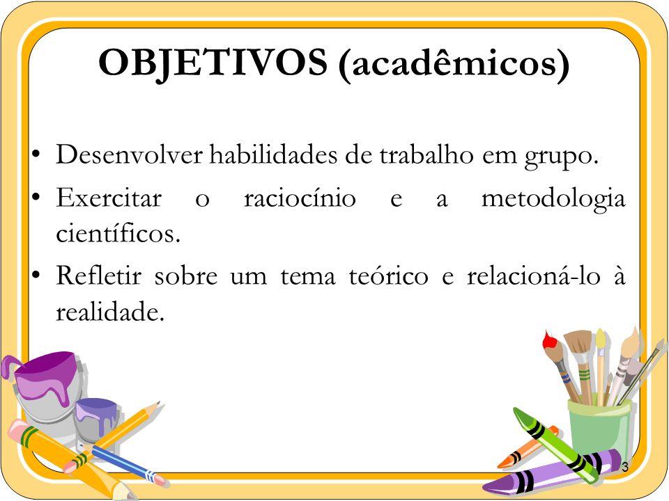3 OBJETIVOS (acadêmicos) Desenvolver habilidades de trabalho em grupo. Exercitar o raciocínio e a metodologia científicos. Refletir sobre um tema teór