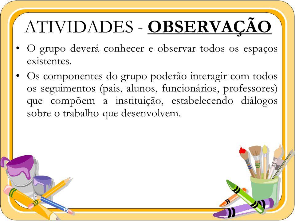 ATIVIDADES - OBSERVAÇÃO O grupo deverá conhecer e observar todos os espaços existentes. Os componentes do grupo poderão interagir com todos os seguime