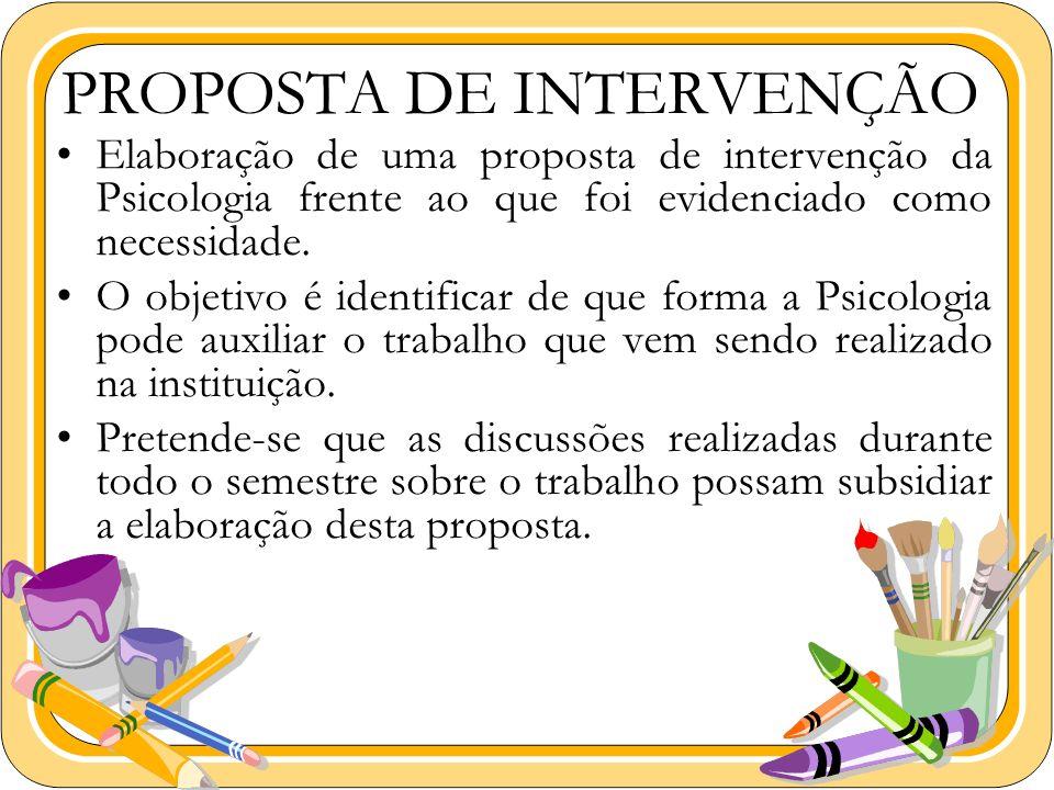 Elaboração de uma proposta de intervenção da Psicologia frente ao que foi evidenciado como necessidade. O objetivo é identificar de que forma a Psicol